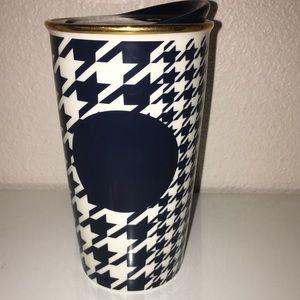 Starbucks navy houndstooth dbl wall traveler 12oz